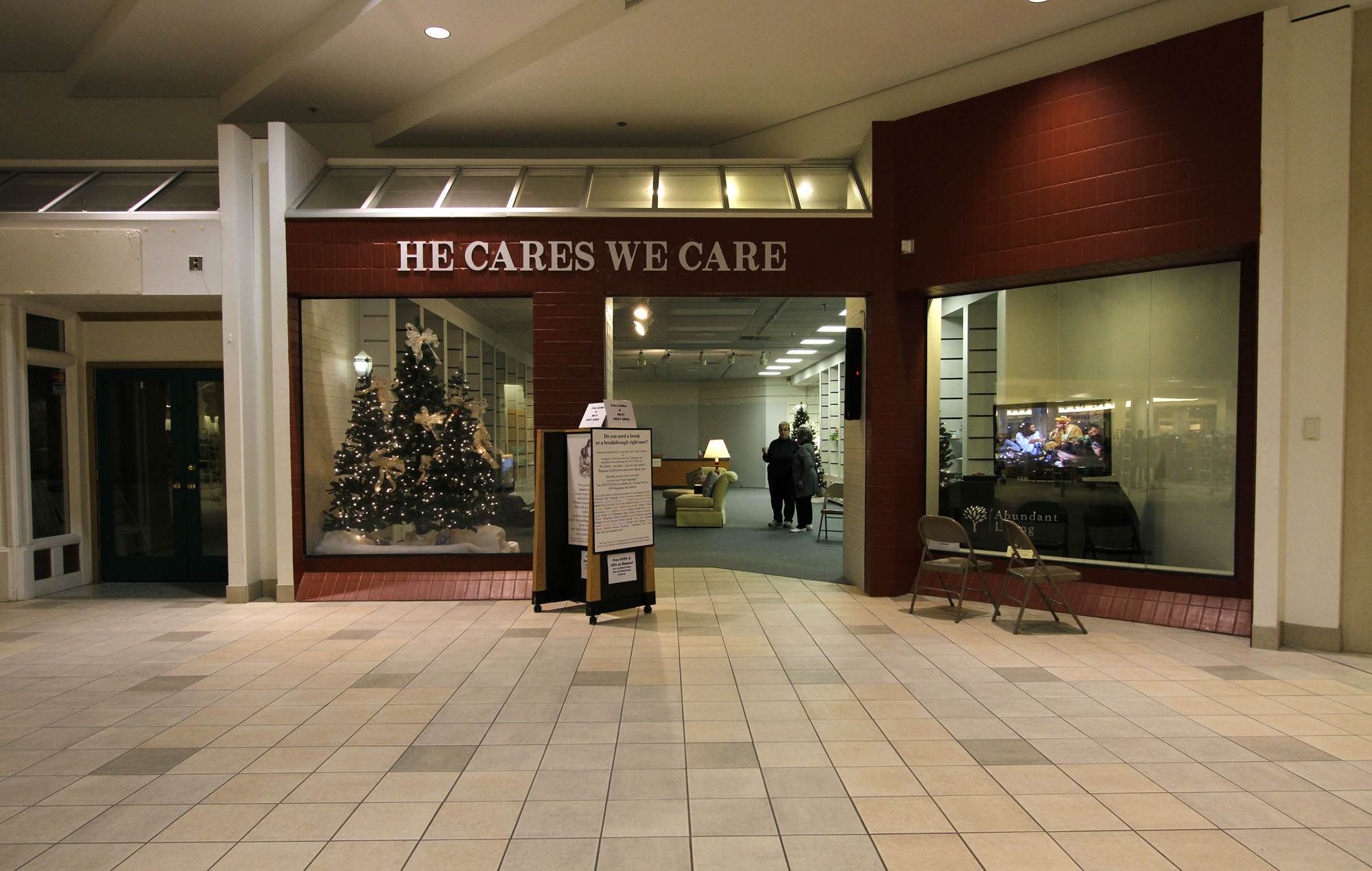 Store-front of the He Cares We Care Center
